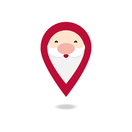 Vector illustration of isolated Santa Claus pin, location icon on white background.