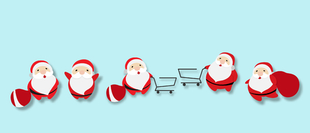 Vector illustration set of isolated cute Santa Claus cartoon character with shopping cart and red gift bag, design for Christmas party.