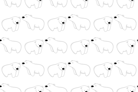 Seamless pattern, vector illustration of cute bear cartoon character on white background.