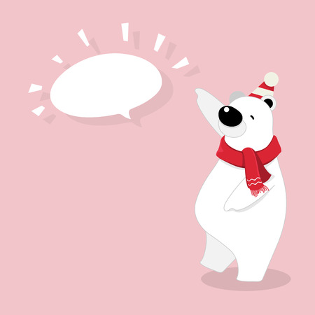 Vector illustration of isolated cute polar bear cartoon character standing, thinking with chat box on pink background.