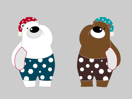 Vector illustration of cute polar bear cartoon character wearing pajamas going to bed on gray background.