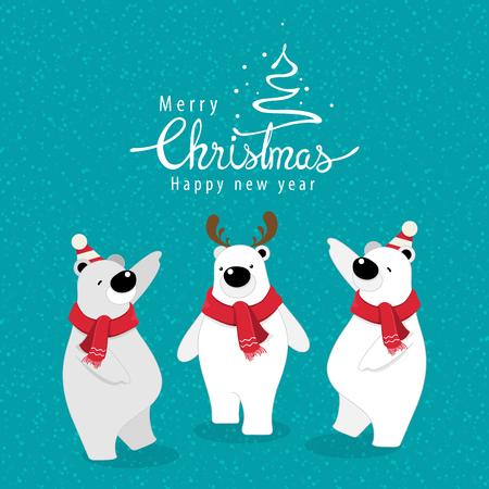 vector illustration.Christmas greeting card with cute polar bear. Illustration