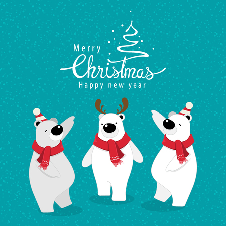 vector illustration.Christmas greeting card with cute polar bear. Stock Vector - 115606170