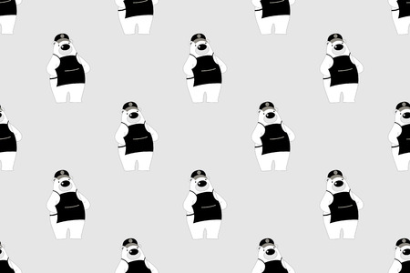 Vector illustration of cute polar bear cartoon character wearing apron on gray background.Seamless background.