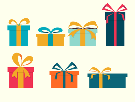 Vector illustration. Set of gift boxes with ribbon.