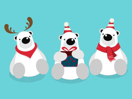 Vector illustration of isolated cute polar bear cartoon character sitting, wearing red scarf on blue background celebrating for Christmas party. Illustration