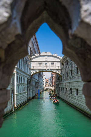 The enclosed bridge of Sighs over Rio di Palazzo which connects the New Prison and the Dodge's Palace, Gondolas passing under it, Venice, Italy. Editorial