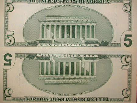 cash back: Five Dollar Bill Back Reflected