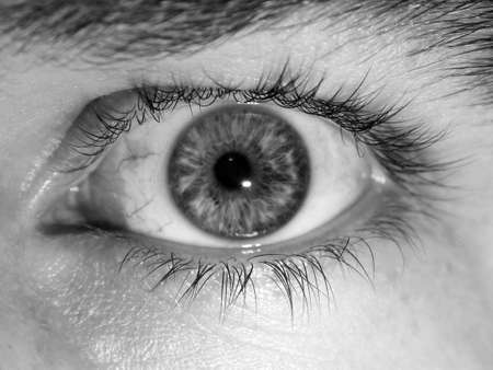 eye lashes: Eye Ball Black and White Stock Photo