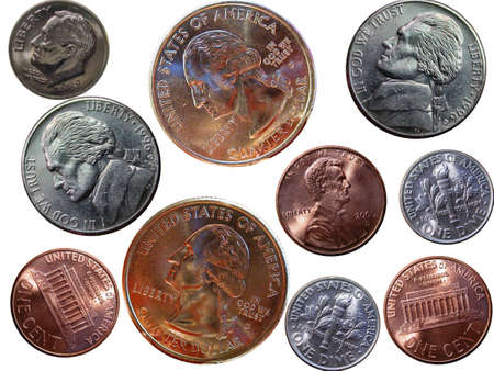 coinage: American Coins Over White Background Stock Photo