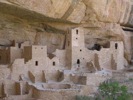 mesa: Ancient Cliff Dwellings of Mesa Verde Stock Photo