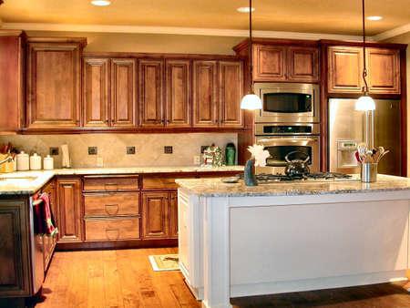 armario cocina: Custom Alder armarios de cocina  Foto de archivo