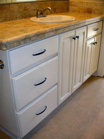 vanity: Painted Bathroom Cabinets Stock Photo