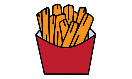 Image of french fries on white background 矢量图像
