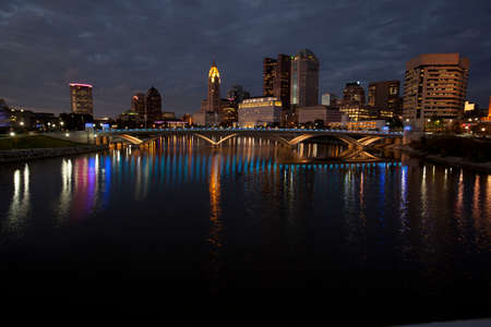 ohio: Night time view of the Columbus Ohio skyline with the new Rich Street Bridge in the foreground