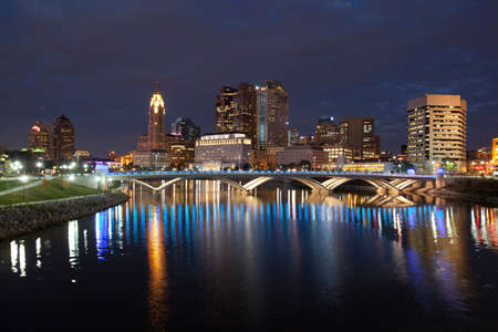 COLUMBUS OHIO  OCTOBER 18 2013: The new Rich Street Bridge lights the waters of the Scioto River on October 18 2013