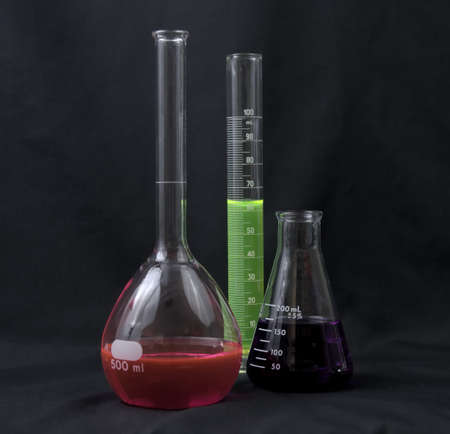 Laboratory glassware with colorful fluids