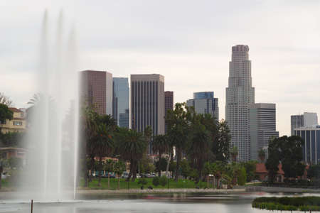 echo: Downtown Los Angeles from Echo Park with Fountain Stock Photo