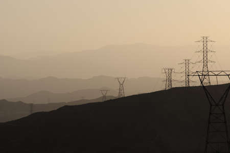 Electrical towers and power lines on mountains