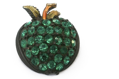 Green rhinestone apple pin photo