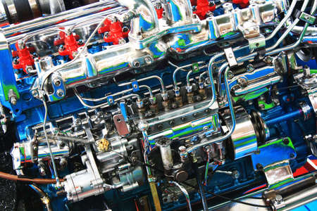 engine compartment: Modern powerful engine compartment