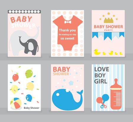 Baby Shower, tarjeta de felicitación, tarjeta de feliz cumpleaños, niña, plantilla de invitación, ilustración vectorial de bebé. Foto de archivo - 75440082
