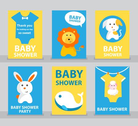 Juego de baby shower, tarjeta de baby shower, feliz cumpleaños, tarjeta de felicitación, tarjeta de invitación, tarjeta de animal, león, perro, conejo, oveja, ballena. Ilustración de vector de dibujos animados de bebé. Foto de archivo - 75439924