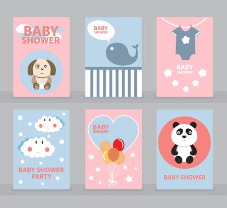Plantilla de invitación de baby shower, tarjeta de felicitación, ilustración de vector de tarjeta de feliz cumpleaños Foto de archivo - 75440084
