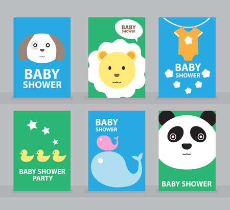 Plantilla de la invitación de la ducha del bebé, tarjeta de felicitación, tarjeta del feliz cumpleaños, ejemplo animal del vector. Foto de archivo - 75440110