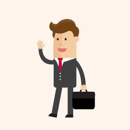Empresario o gerente ir a trabajar en el centro de negocios. Personaje de dibujos animados Vector Illustration. Foto de archivo - 77342424