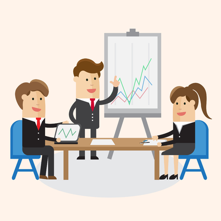 Business team. man and woman work or conference about graph at smart office business canter. Cartoon Vector illustration.