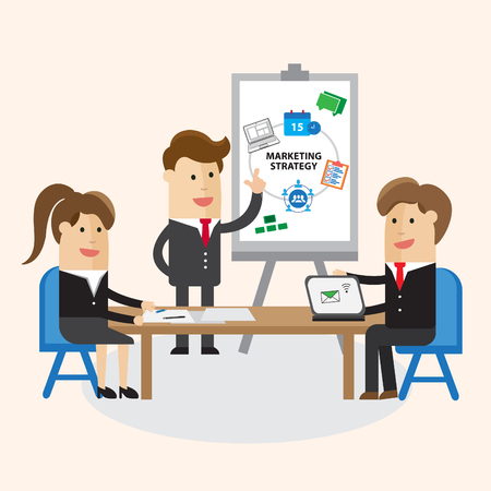 Business team. man and woman work or conference about marketing strategy at smart office business canter. Cartoon Vector illustration.