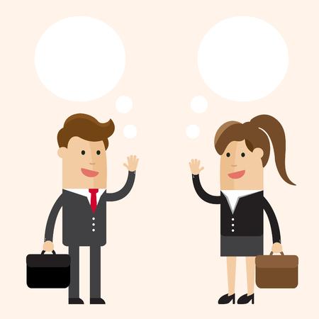 Discusión. Hombre de negocios o hombre y mujer de negocios o mujer hablando. Ilustración vectorial de dibujos animados de negocios. Foto de archivo - 77348095
