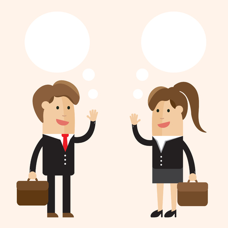 discussing: Discussion. Businessman or man and businesswoman or woman talking. Business cartoon vector illustration.