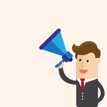 Businessman or manager on megaphone make an announcement. Business Cartoon Vector Illustration.