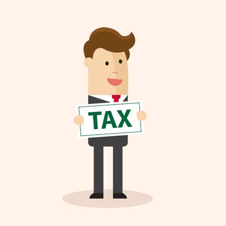 Concepto de pago fiscal . hombre de negocios que sostiene el documento de impuestos en la oficina. ilustración vectorial de dibujos animados . Foto de archivo - 77347996