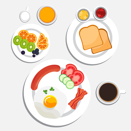 Breakfast with Fried egg, Sausages, Bacon, Bread, Fruit, Orange, Kivi, Grape, Coffee and Vegetable salad. Breakfast vector illustration. Illustration