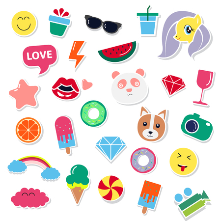 dimond: Pop art fashion chic patches, pins, badges, icons and stickers vector illustration.