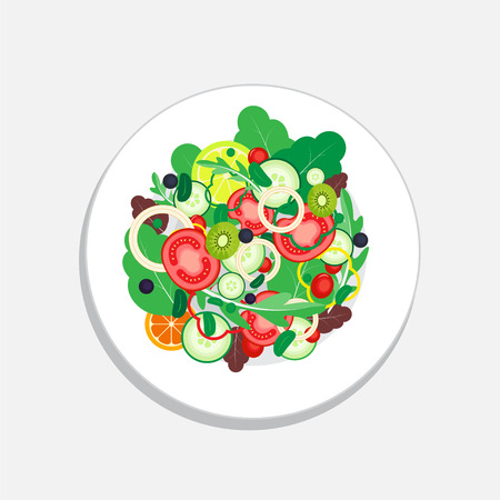 Salad and Healthy food with vegetable, tomato, onion, lemon, orange, grape and cucumber. Salad Organic vector food illustration.