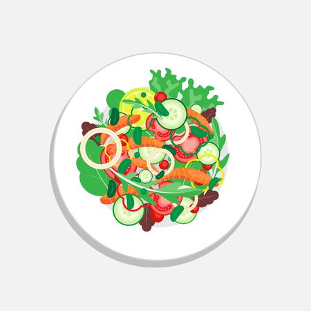 Ensalada de salmón con vegetales, tomate, cebolla, limón y pepino. Comida saludable en el plato. Ilustración de vector de ensalada. Foto de archivo - 77935836