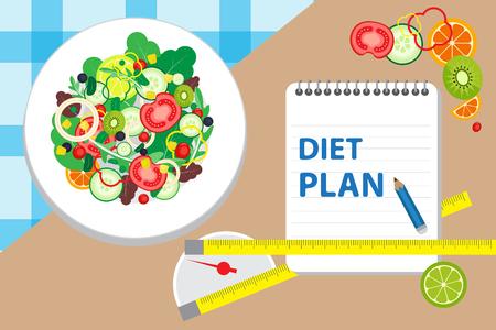 La dieta, el alimento, la verdura, la forma de vida sana y la bandera de la pérdida de peso planean con un plato del ejemplo del vector de la ensalada, del sistema de la tabla y de la escala. Foto de archivo - 77935858