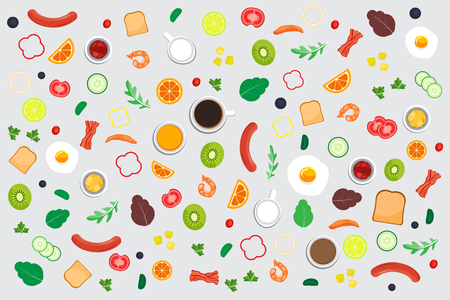 Ejemplo del vector del fondo del modelo de la verdura y de la comida. Foto de archivo - 77935859