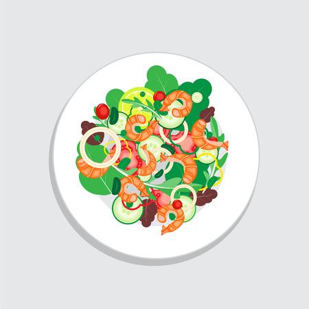 fried shrimp: Shrimp salad with vegetable, tomato, onion, lemon and cucumber. Healthy food on dish. Salad vector illustration.
