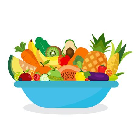 Comida saludable y natural. Conjunto de frutas y verduras. Foto de archivo - 80061217
