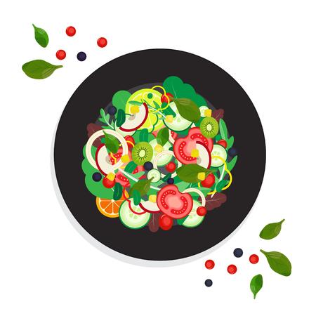 Ensalada De Frutas. Verduras Alimentos Orgánicos. Ilustración del vector. Foto de archivo - 80061222