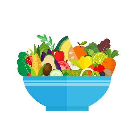 Ensaladera. Comida sana, verduras orgánicas y frutas. Ilustración del vector. Foto de archivo - 80046753