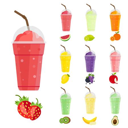 Smoothie De Las Frutas. Fresa, limón, naranja, kiwi, uva, bayas, mango, manzana, aguacate, banana y sandía. Menú de bebidas frescas, Jugo para una vida sana. Foto de archivo - 80046620