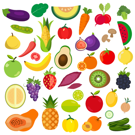 Set of Vegetables and fruits icon.