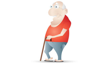 hoary: Old Man With a Cane Illustration