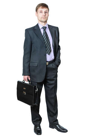 expresses: Business man in a suit expresses commitment Stock Photo